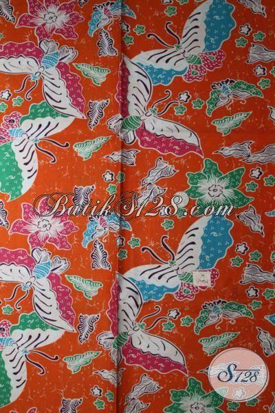 Kain Batik Warna Orange Motif Bunga Dan Kupu Proses Print, Batik Bahan Seragam Kerja Wanita Karir Tampil Lebih Bergaya