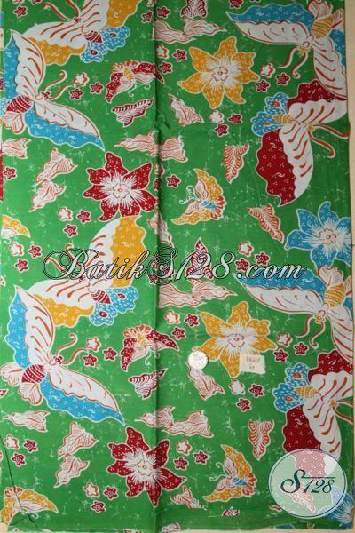 Kain Batik Warna Hijau Motif Bunga Dan Kupu, Batik Bahan Busana Kwalitas Halus Tampil Modis Dan Cakep