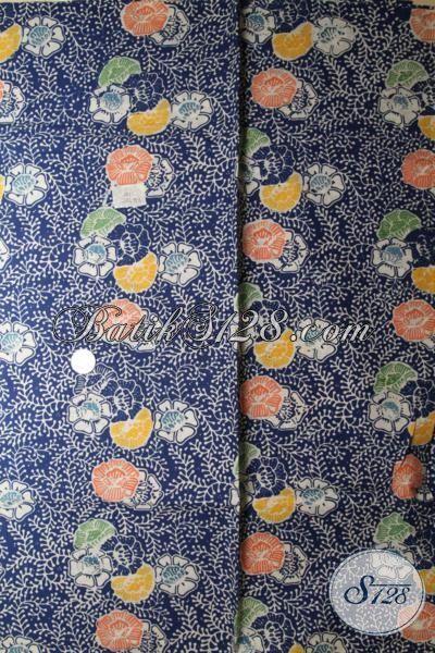 Jual Batik Solo Motif Terkini Bahan Busan Wanita, Kain Batik Cap Tulis Warna Biru Kwalitas Halus Pas Buat Dress Maupun Blus