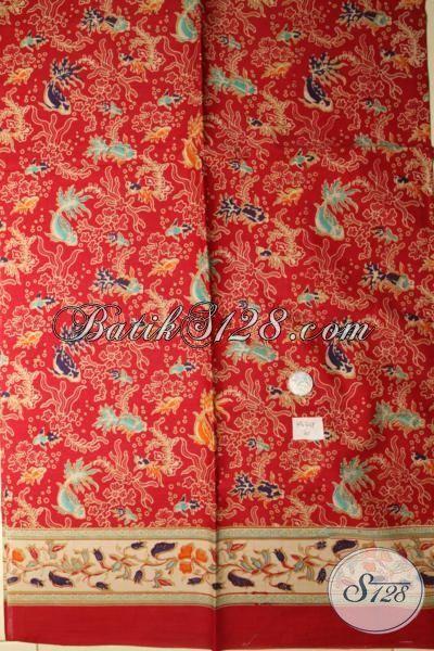 Jual Online Batik Print Warna Merah Motif Ikan Dan Biota Laut, Batik Solo Modern Bahan Baju Pria Dan Wanita Untuk Tampil Modis Dan Bergaya [K1674P]