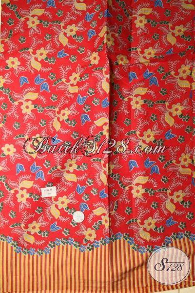 Kain Batik Halus Harga Murah Meriah, Batik Kain Printing Motif Terkini Warna Merah Pas Buat Bahan Busana Modern Dan Berkelas