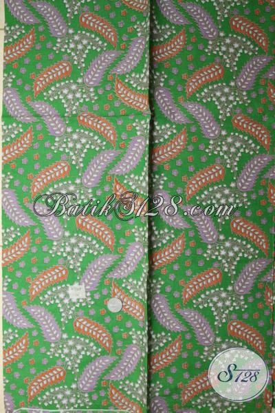 Kain Batik printing Dasar Hijau Motif Modern, Batik Bahan Pakaian Cowok Dan Cewek Masa Kini Tampil Lebih Modis