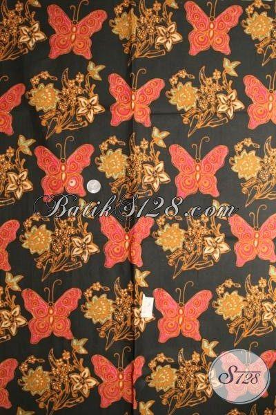 Batik Kain Warna Klasik Motif Kupu Bahan Pakaian Blus Wanita Kwaliats Halus, Barik Cap Tulis Premium Tampil Elegan Dan Mewah