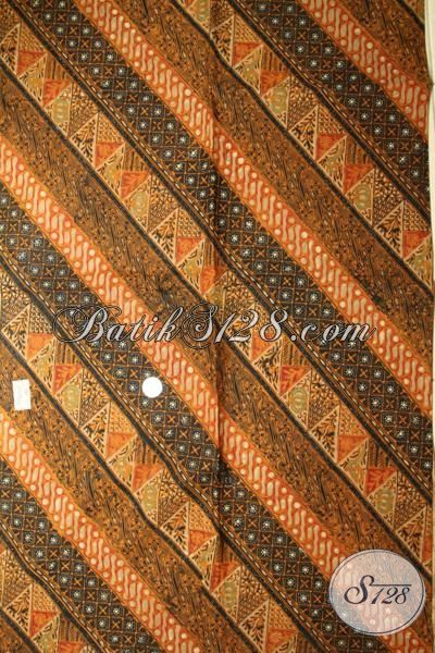 Batik Kain Klasik Jawa Khas Solo Jawa Tengah, Batik Bahan Busana Formal Untuk Kerja Dan Kondangan [K1744CT-240x110cm]