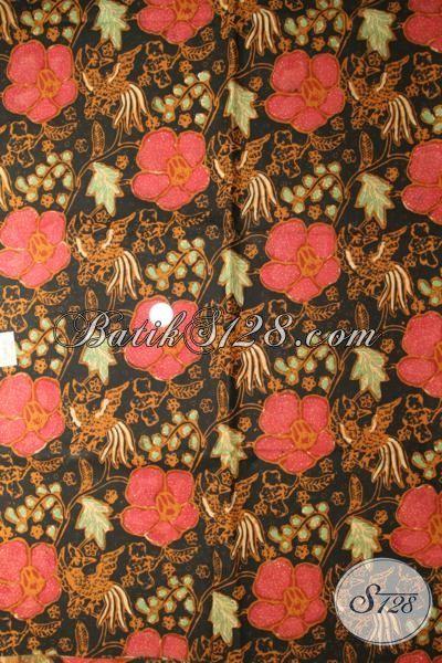 Toko Online Batik Solo Sedia Kain Batik Klasik Modern Motif Bunga Yang Cocok Untuk Bahan BlusYang Mewah Dan Berkelas [K1745CT-240x110cm]