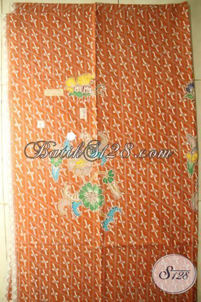 Kain Batik Premium Warna Orange Halus Dan Adem, Batik Tulis Buatan Solo Mewah Cocok Untuk Bahan Baju Keren Dan Elegant [K1751TMH-250×110 cm]