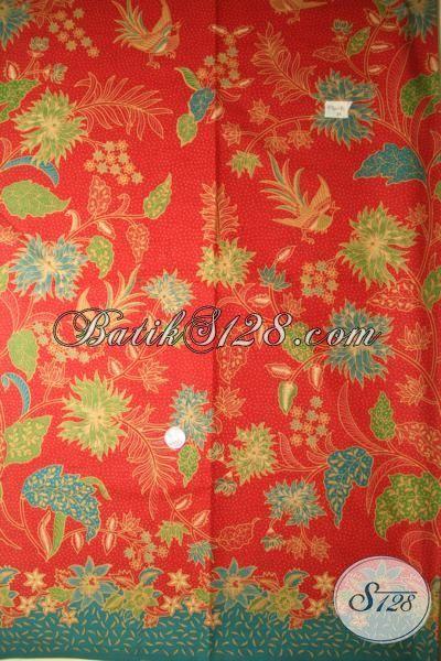 Kain Batik Printing Lasem Warna Orange Kobinasi Hijau, Batik Murah Kwalitas Halus Motif Terkini Pas Buat Blus Dan Dress