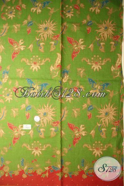 Batik Kain Buatan Solo, Batik Bahan Pakaian Wanita Warna Hijau Motif Bunga, Batik Print Lasem Murmer Halus Dan Adem