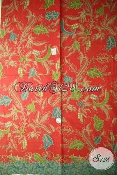 Kain Batik Orange Motif Unik Keren Dan Menarik, Batik Bahan Dress Cantik Proses Print Harga Murmer