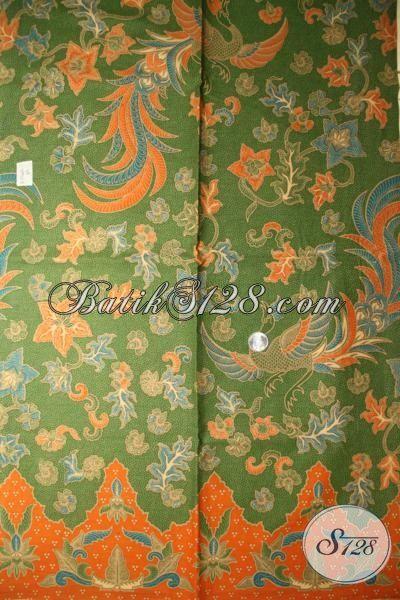 Batik Bahan Blus Berkelas, Batik Solo PrintHijau Kombinasi Orange, Batik Motif Modern Harga Murmer