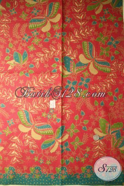 Jual Kain Batik Panjang Bahan Pakaian Wanita Dan Pria, Batik Solo Halus Printing Warna Merah Kombinasi Hijau Motif Terkini Bisa Untuk Atasan Dan Bawahan