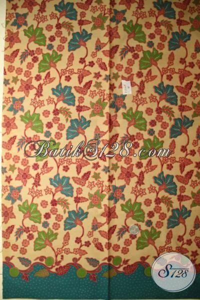 Jual Kain Batik Warna Cream Kombinasi Hijau, Batik Print Lasem Halus Motif Terbaru Bahan Pakaian Berkwalitas Tinggi Dengan Harga Grosir