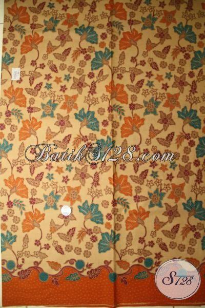 Jual Kain Batik Warna Lasem,Kain Batik Motif Floral Warna Orange [K1776PL]