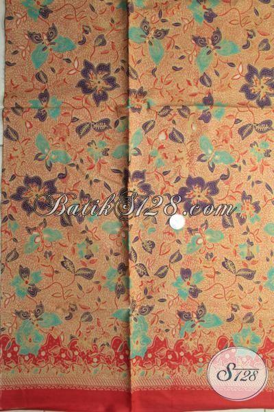 Jual Kain Batik Printing Murmer Kwalitas Halus Warna Coklat Dengan Motif Bunga Dan Kupu Pas Buat Pakaian Kerja [K1797P-200x105cm]