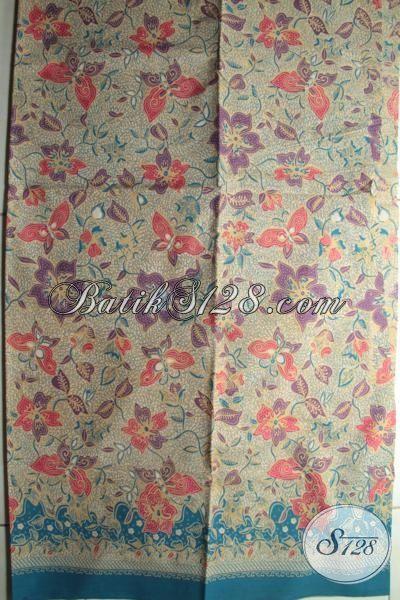 Jual Batik Kain Murah Meriah Buatan Solo Bahan Busana Kerja Wanita Maupun Pria, Batik Print Motif Kupu-Kupu Warna Klasik Untuk Tampil Elegan