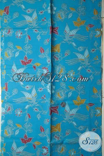 Sedia Kain Batik Kwalitas Bagus Warna Biru Motif Burung, Batik Bahan Busana Wanita Proses Printing Asli Buatan Solo [K1801P-200x105cm]
