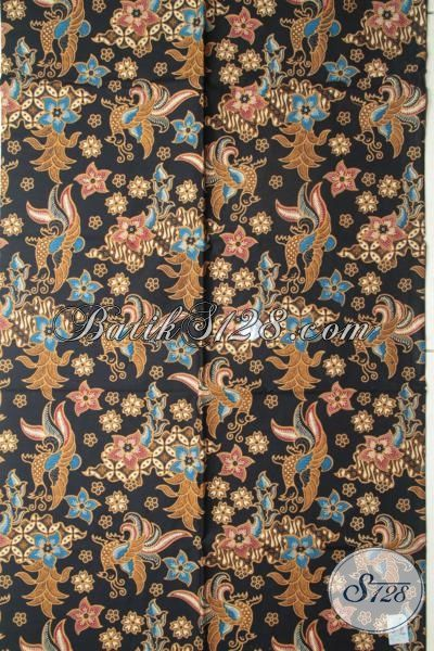 Kain Batik Dasar Hitam, Batik Modern Motif Bagus Bahan Baju Elegan, Batik Murah Kwalitas Mewah Khas Solo Jawa Tengah