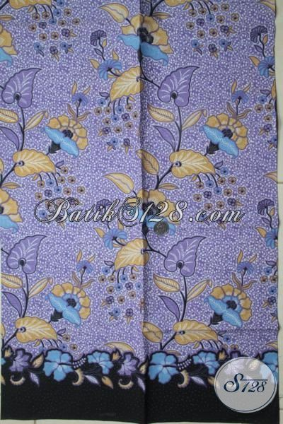 Juragan Kain Batik Asli Solo, Sedia Batik Kain Warna ungu Motif Tanaman Bunga Untuk Busana Modern Dan Modis [K1816P-200x105cm]