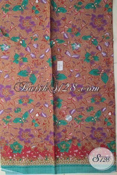 Bahan Busana Kerja Wanita Karir, Batik Modern Warna Klasik Motif Kupu Dan Bunga, Batik Masa Kini Proses Print Harga Murmer