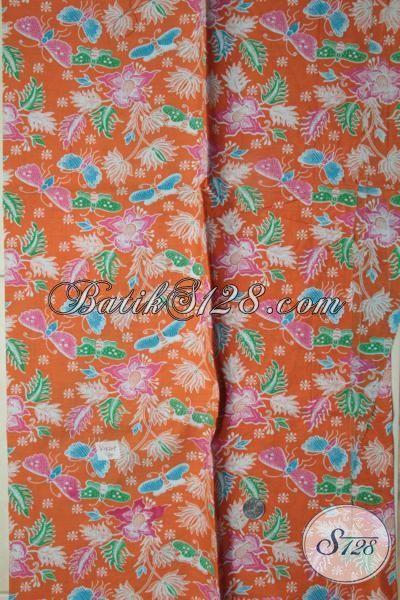 Kain Batik Orange Motif Kupu-Kupu Dan Bunga, Batik Murah Kwalitas Bagus, Batik Print Halus Sangat Cocok Untuk Dress Modern