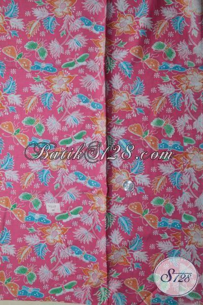 Jual Batik Halus Berbahan Adem, Batik Print Bahan Blus Paling Keren Warna Cewek Banget, Batik Motif Kupu-Kupu Kombinasi Bunga