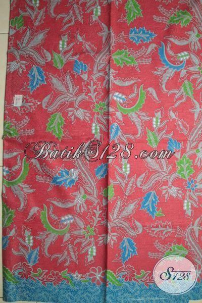 Kain Batik Warna Merah Motif Bunga, Batik Bahan Atasan Aneka Desain, Bahan Busana Batik Perempuan Tampil Lebih Cantik