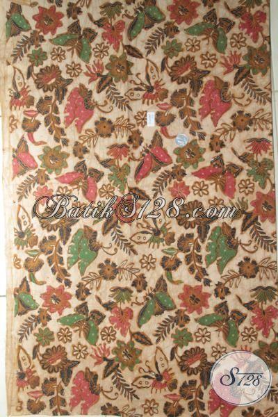 Batik Jawa Bahan Kemeja Berkelas Dan Elegan, Kain Batik Untuk Busana Kerja, Bahan Blus Proses Kombinasi Tulis Motif Bunga Dan Kupu Warna Klasik