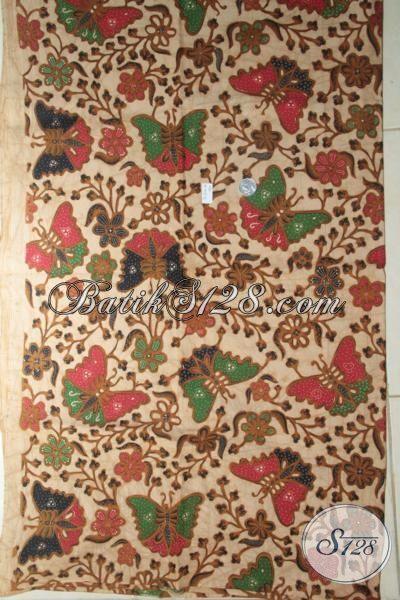 Batik Klasik Motif Modern Gambar Kupu-Kupu, Batik Halus Produk Solo Kombinasi Tulis, Batik Bahan Dress Megah Berkelas