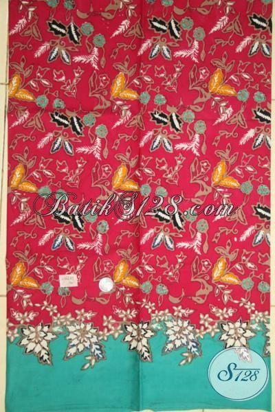 Bati Cap Tulis Kwalitas Premium, Kain Batik Solo Warna Merah Kombinasi Biru, Batik Bahan Dress Motif Unik Trend 2015