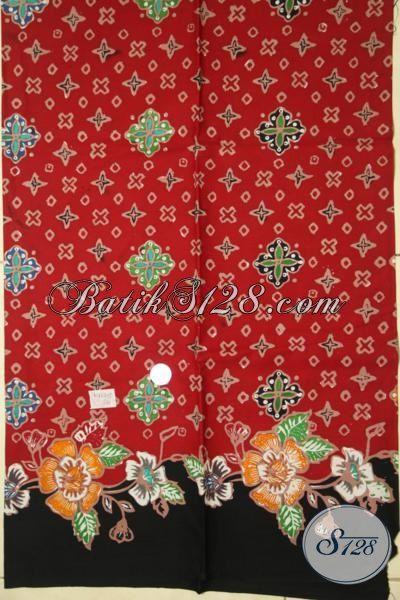 Batik Kain Warna Merah Keren, Batik Bahan Blus Kwalitas Halus Ukuran Pas Untuk Blus Maupun Kemeja, Batik Cap Tulis Asli Solo