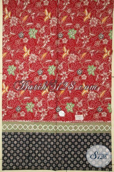 Kain Batik Berkelas Bahan Busana Baju Modern, Batik Solo Cap Tulis Motif Trendy Warna Merah, Batik Jawa Kwalitas Halus