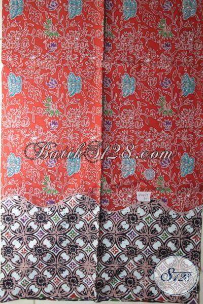Kain Batik Motif Bunga Bahan Blus Modern Warna Merah, Batik Solo Cap Tulis Cocok Juga Buat Blus [K1880CT-200 x 110 cm]