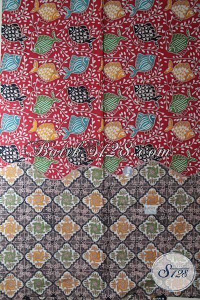 Batik Kombinasi Dua Motif Berpadu Warna Warni Trendy, Batik Jawa Tengah Masa Kini Membuat Baju Semakin Keren [K1883CT-200 x 110 cm]