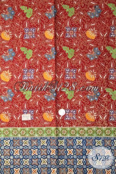 Batik Unik Tiga Motif, Batik Kombinasi Warna Yang Mewah, Batik Bahan Baju Pesta Proses Cap Tulis Harga Terjangkau [K1934CT-200X110 cm]