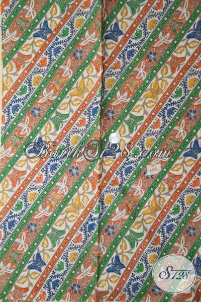 Batik Kain Produk Terbaru Dari Solo, Batik Bahan Pakaian Kerja Elegan Motif Parang Kupu Proses Printing Halus