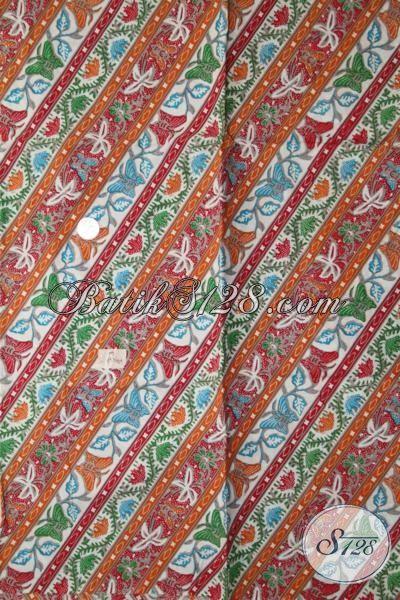 Batik Kain Buatan Solo Motif Bagus Dan Modern, Bahan Baju Batik Elegan Motif Parang Kupu Trend Desain Batik Terkini [K1947P-200 X 105 cm]