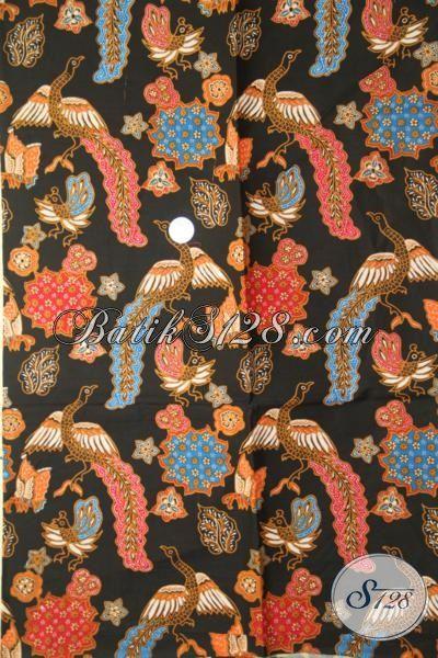 Batik Kain Dasar Hitam Elegan Berpadu Motif Keren, Batik Bahan Kemeja Cowok Berkwalitas Tinggi Harga Murah Banget