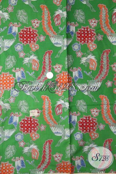 Batik Hijau Bahn Hem Keren Untuk Pesta, Kain Batik Printing Motif Trendy Cocok Untuk Kemeja Santai [K1956P-200 X 105 cm]