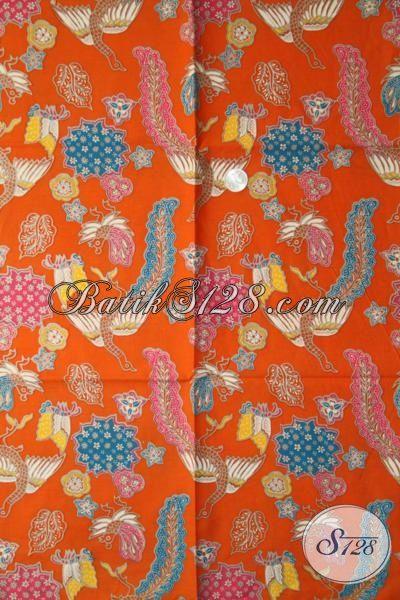 Kain Batik Orange Produk Solo Asli, Batik Printing Kwalitas Istimewa Motif Unik Cocok Untuk Baju Pesta [K1957P-200 X 105 cm]
