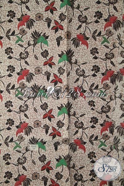Batik Kain Motif Bunga Dan Burung Bahan Baju Masa Kini Kwalitas Halus, Batik Print Solo Untuk Blus Dan Dress Wanita Muda