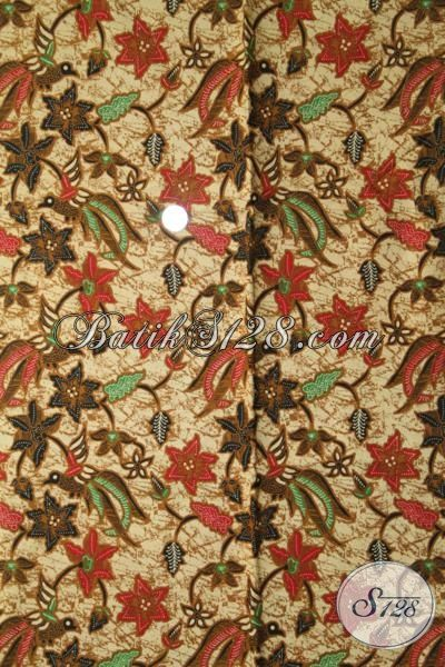 Kain Batik Motif Burung Bertengger Pada Bunga Warna Merah Coklat