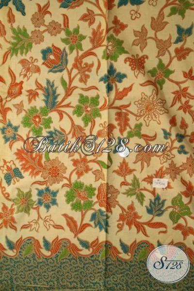Batik Kain Motif Bunga Bahan Blus Seragam Kerja Perempuan Kantoran, Kain Batik Untuk Dress Proses Print Lasem Lebih Halus Dan Lembut