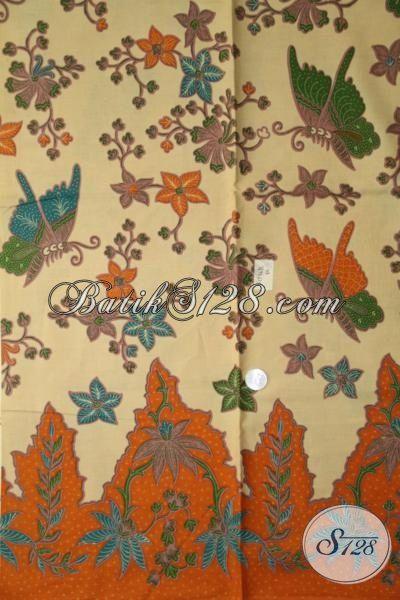 Batik Bahan Kemeja Berkelas Warna Soft, Batik Solo Motif Bunga Dan Kupu Membuat Penampilan Cowok Semakin Gagah Dan Tampan [K1976PL-240 X 105 cm]