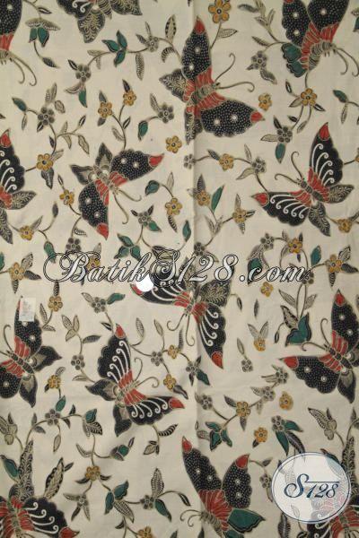 Batik Kain Halus Motif Kupu, Batik Modern Produk Pengerajin Solo Proses Kombinasi Tulis, Pas Untuk Dress Batik Yang Fashionable [K1985BT-240×110 cm]