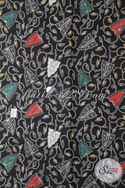 Bahan Baju Batik Warna Hitam Elegan, Batik Kombinasi Tulis Motif Unik Kwalitas Halus Pas Untuk  Baju Pesta Dan Hangouts [K1986BT-240×110 cm]