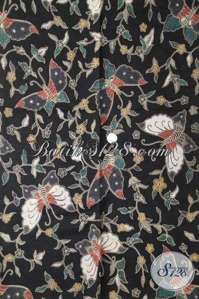 Batik Halus Kombinasi Tulis Motif Kupu-Kupu, Kain Batik Masa Kini Warna Hitam Pas Banget Untuk Baju Santai [K1989BT-240×110 cm]