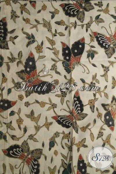 Batik Jawa Motif Modern Kupu Dan Bunga, Batik Kombinasi Tulis Bahan Pakaian Blus Perempuan Muda Dan Dewasa [K2013BT-240×110 cm]
