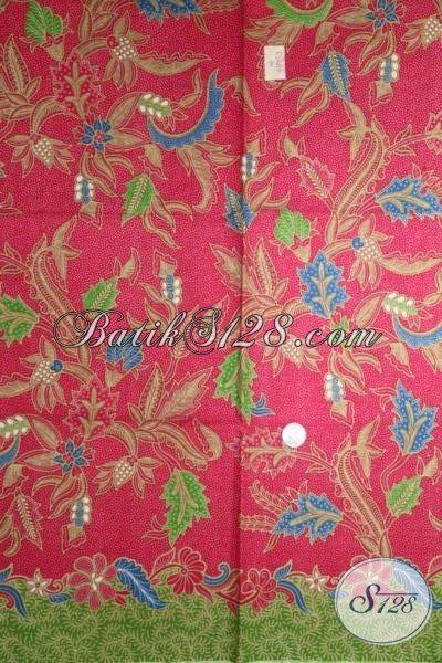Kain Batik Merah Motif Unik Dan Keren, Batik Modern Bahan Busana Kerja Cewek Kantoran, Cocok Juga Untuk Baju Pesta
