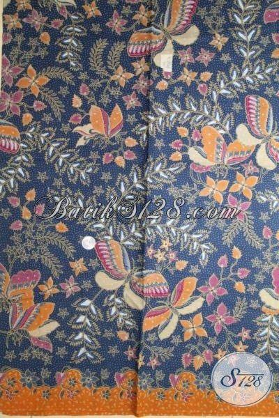 Kain Batik Modern Motif Bunga Kupu Berpadu Warna Biru Yang Elegan Dan Mewah, Batik Bahan Baju  Trendy Hanya Rp 70.000,- [K2047P-240 x 105 cm]