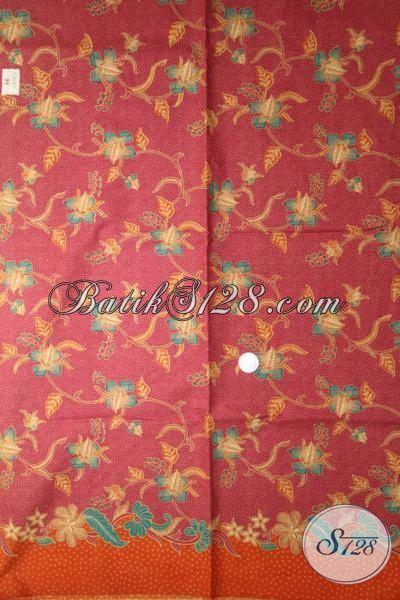 Batik Kain Lembut Buatan Solo, Batik Printing Lasem Warna Merah Soft Dengan Motif Keren Bahan Pakaian Berkwalitas Dan Berkelas